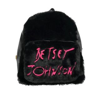 Betsey Johnson Logo Backpack With Fur in Black